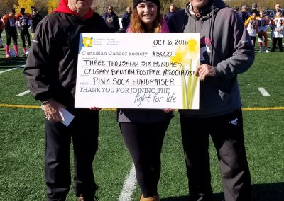 Pink sock fundraiser check presentation